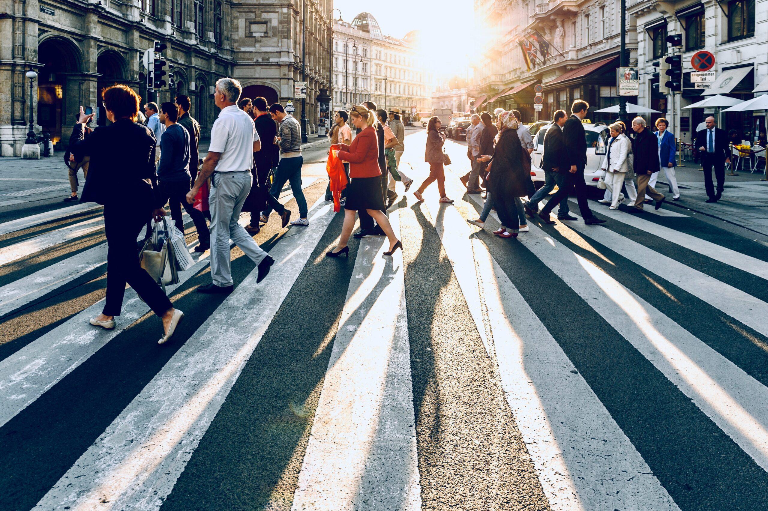 Genta cruzando las calles de New York