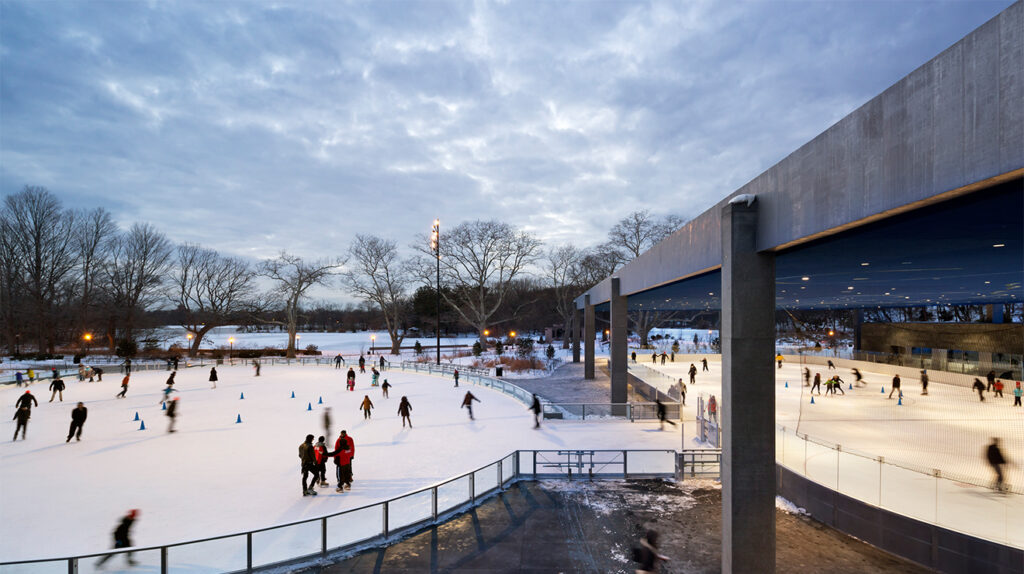 The Lafrak Center at Prospect Park being used as a Ice skating ring during the winter.