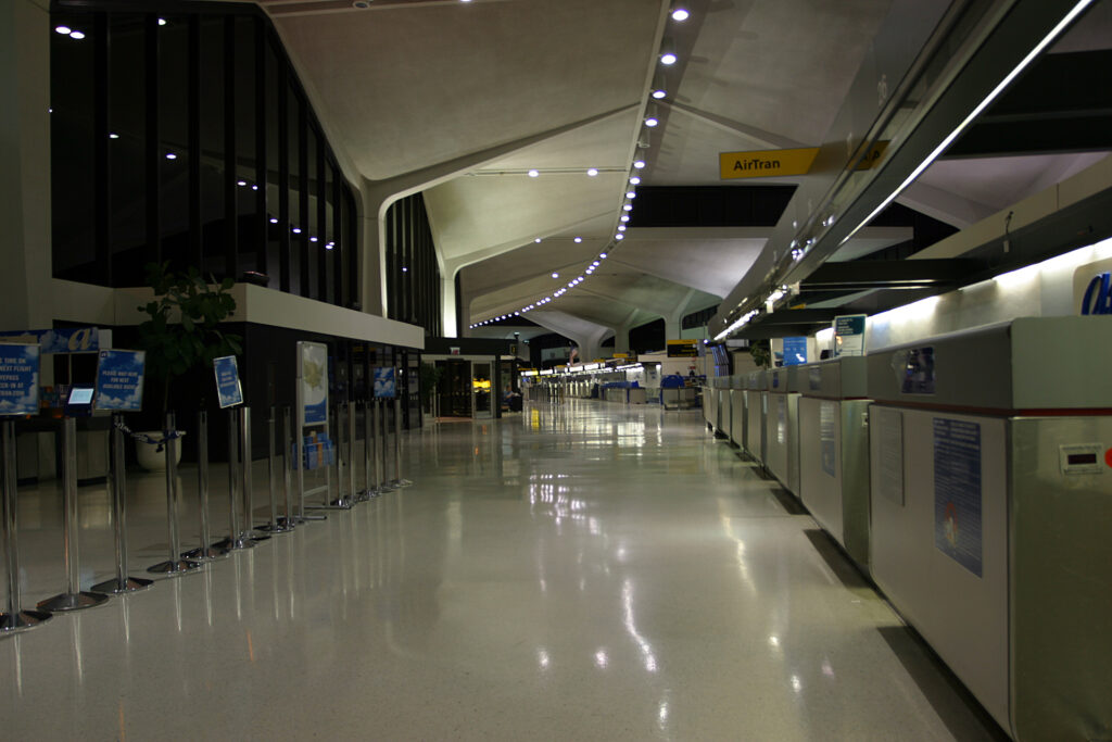 Newark Liberty International Airport Terminal A during nighttime