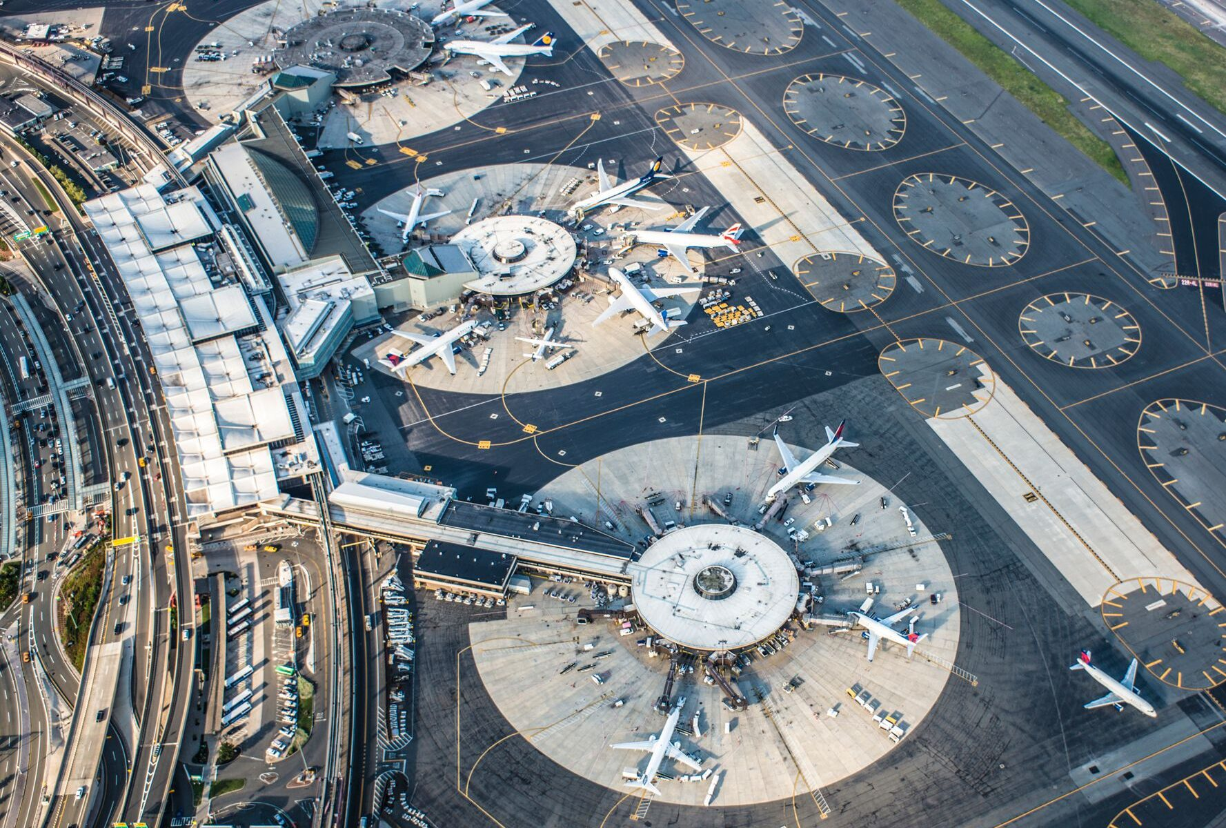Aerial view of Newark Liberty International Airport