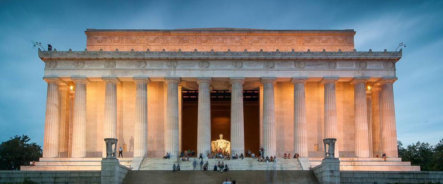 The front view of the Lincoln memorial